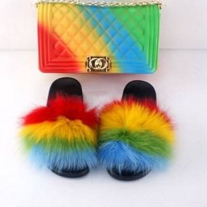 Jelly bag set with matching colorful slipperd